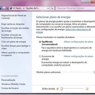 Windows possui ferramenta para controlar consumo de energia