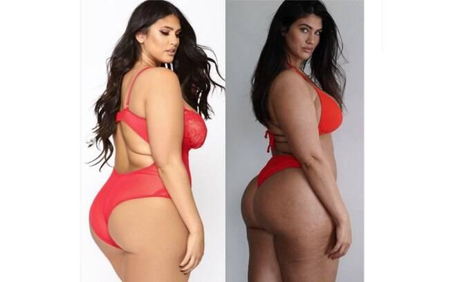A modelo plus size La'Tecia publicou uma comparação de sua foto com edição e sem para lembrar as mulheres da realidade