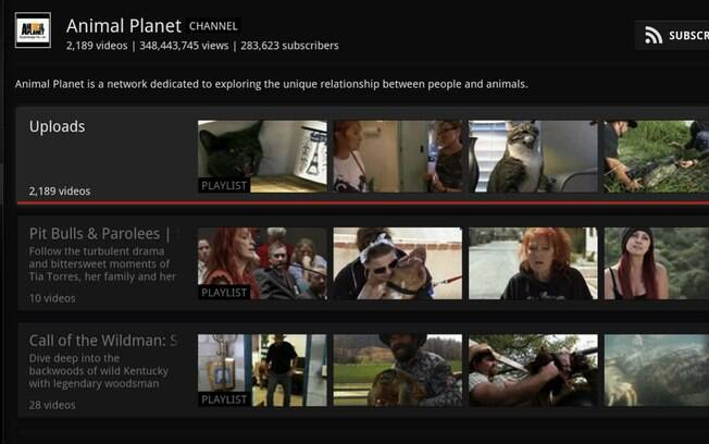 Nova página de canais do YouTube no aplicativo para GoogleTV
