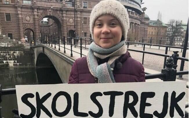 A jovem Greta Thunberg, líder do movimento contra as mudanças climáticas, foi indicada ao Prêmio Nobel da Paz