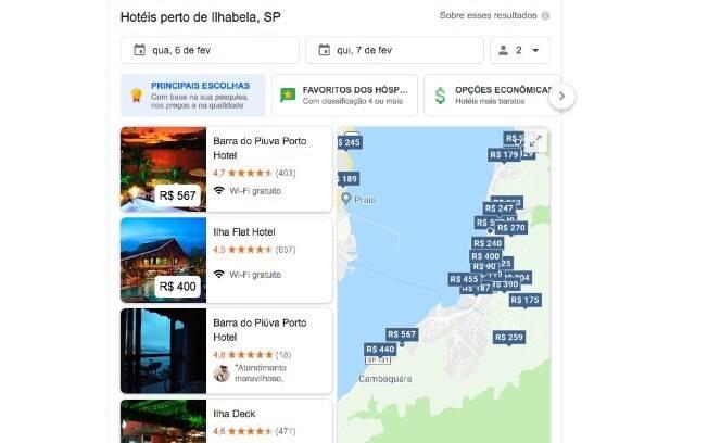 Ferramenta de busca de hotéis do Google reúne diversas informações em uma única tela