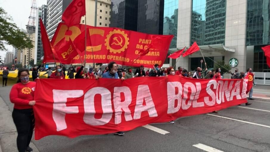 Manifestação contra Bolsonaro neste sábado (26) em São Paulo