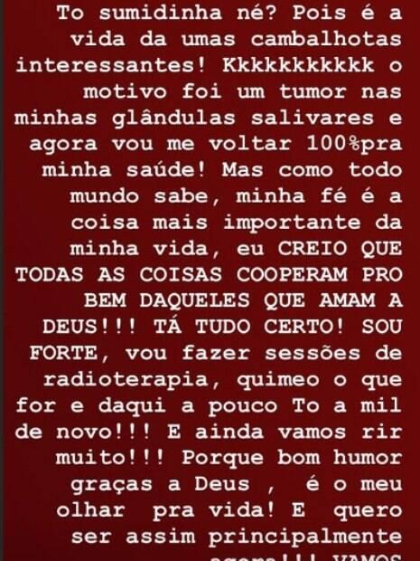 Atriz Heloísa Perissé anunciou que está com tumor