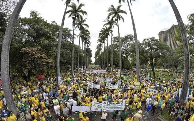 Protesto contra o governo Dilma Rousseff (PT), na Praça da Liberdade, em Belo Horizonte (MG). Foto: Alberto Wu/Futura Press - 13.03.16