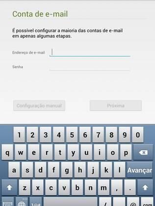 Tela de configuração do e-mail do Android