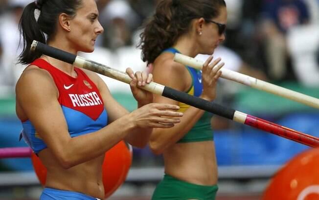 Fabiana Murer e Elena Isinbayeva eram  apontadas como favoritas ao ouro em Londres, mas  ambas vacilaram