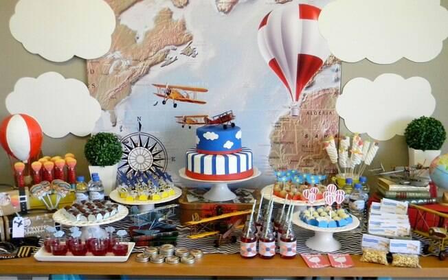 Aviação inspirou a decoração da festa infantil - por Two Sisters Festas