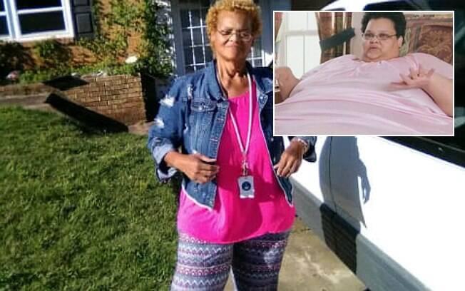 Milla Clark perdeu 270 kg; no detalhe, uma foto dela antes