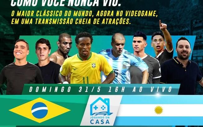 Craques do Brasil e Argentina duelam virtualmente