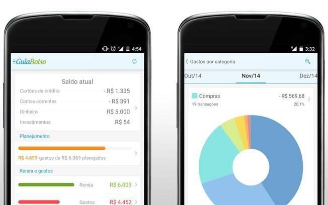 Layout do app GuiaBolso de controle de gastos, disponível em Android e iOS