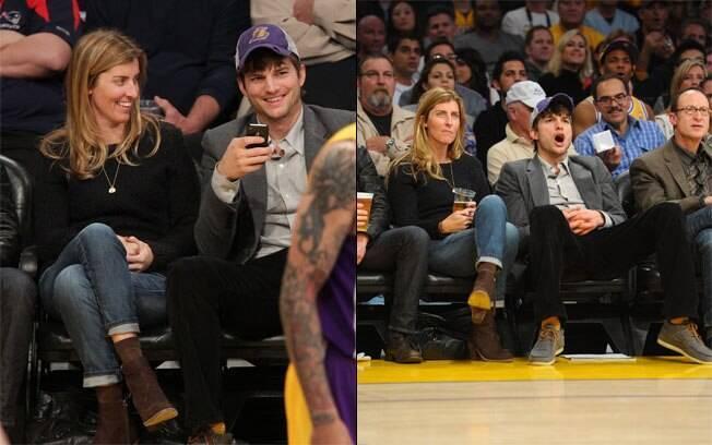 Ashton Kutcher assiste à jogo de basquete na companhia de uma loira