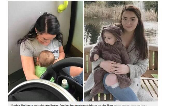 A jovem Sophie, de 22 anos, precisou se acomodar no chão do trem para amamentar o filho, Chester, de um ano