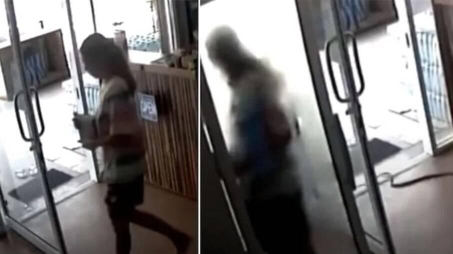 Mulher se assuta ao ver cobra entrando na loja em que trabalhava na Tailândia