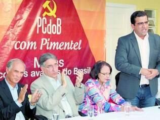 Coligação. Fernando Pimentel e o peemedebista Antonio Andrade foram recebidos na sede do PCdoB