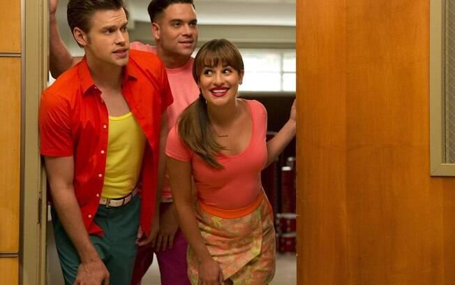 Os atores Chord Overstreet, Lea Michele e Mark Salling em cena na série
