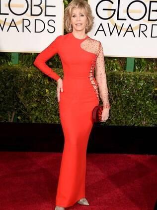 Do alto de seus 77 anos, Jane Fonda roubou a cena no prêmio Globo de Ouro