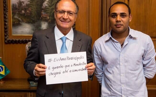 Governador Geraldo Alckmin e o líder do Movimento #EuAmoParaisópolis, Gilson Rodrigues