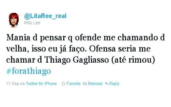 Rita Lee fez até uma rima para dizer que prefere ser chamada de velha do que de Thiago Gagliasso
