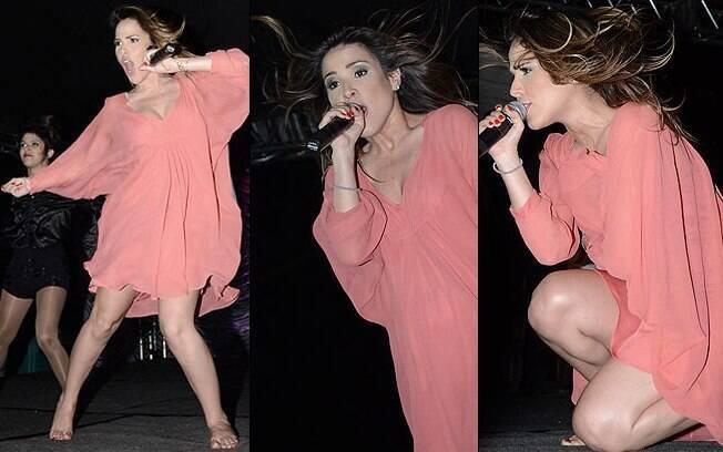 Wanessa em show no último final de semana, com um figurino mais larguinho