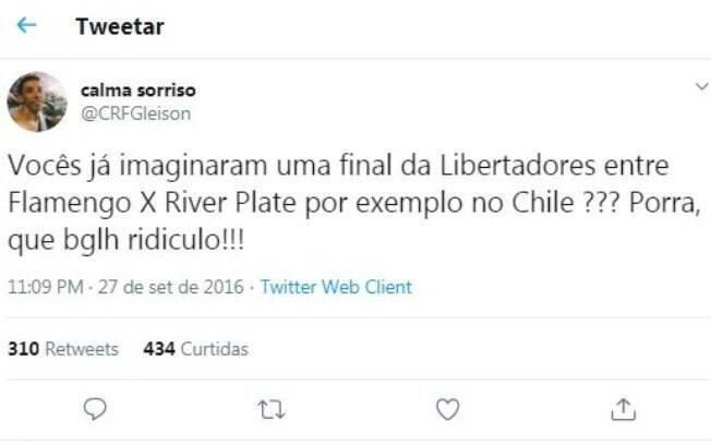 Tweet de um torcedor do Flamengo em 2016
