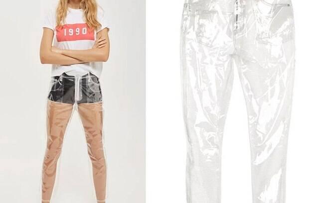 Inspirada pela tendência das transparências, uma marca lançou as calças de plástico