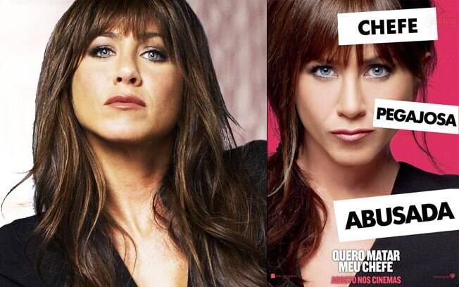 Jennifer Aniston, morena e com franja, no filme