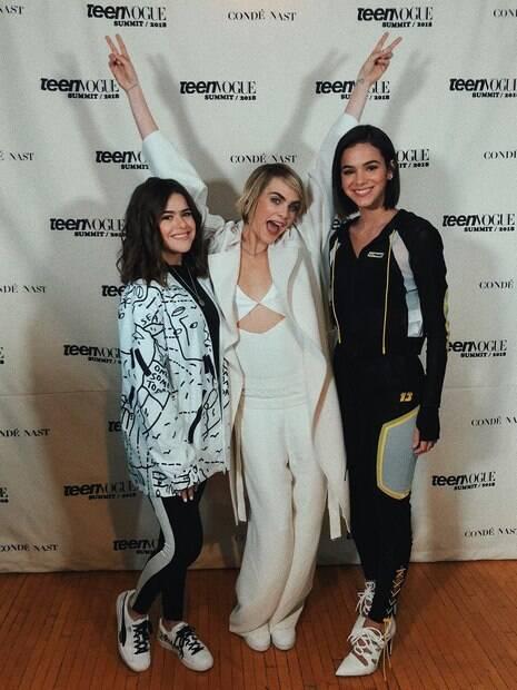 Maisa, Cara Delevigne e Bruna Marquezine no evento da Puma Brasil