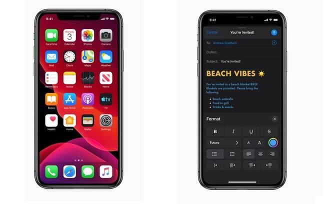 A novidade do iOS 13 é a tela em Modo Escuro, com promessa de economizar bateria e prejudicar menos a visão do usuário