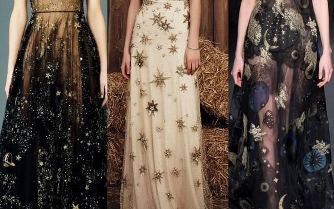 Estampas com estrelas e brilhos já fizeram sucesso nos vestidos de noiva e agora também estão na moda para madrinhas