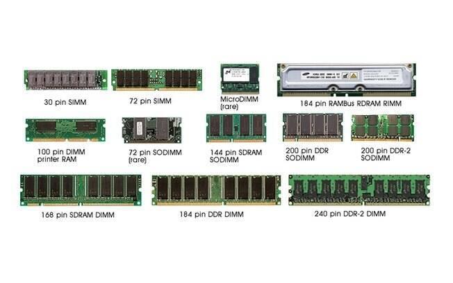 Alguns tipos de memória RAM existentes no mercado