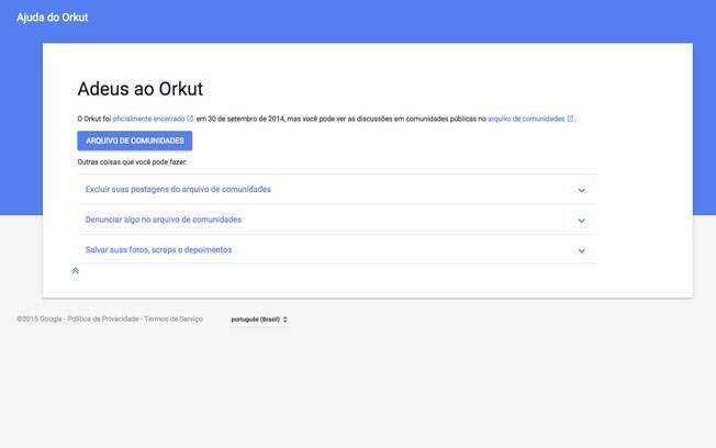 A última opção é salvar suas fotos, scraps e depoimentos usando o Google Takeout até setembro de 2016