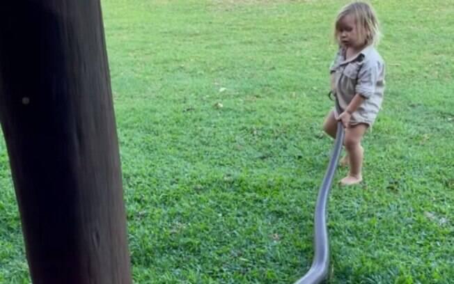 Bebê puxou a cobra pelo quintal de casa