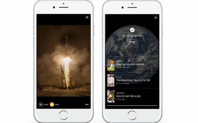 Além da aba Hoje, o Moments possui canais que podem ser seguidos pelo usuário e que enviam novidades diretamente na linha do tempo
