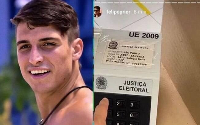 Felipe Prior filmou o voto e postou nos stories do Instagram neste domingo, 15