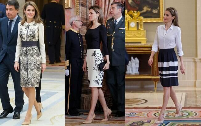 Sapato nude e saia na altura do joelho: dois clássicos no closet de Letizia Ortiz