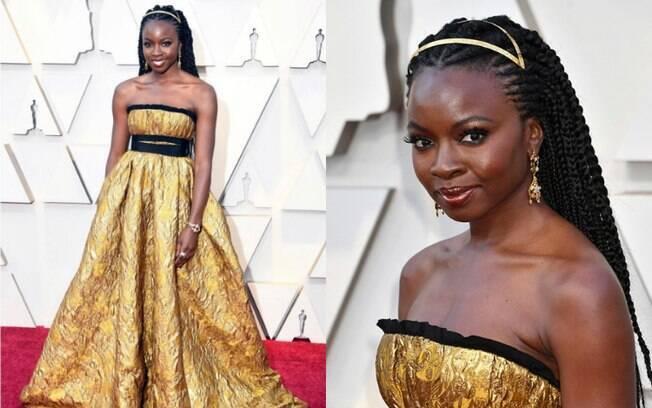 Looks das famosas: Danai Gurira, de 'Pantera Negra', brilhou no tapete vermelho em um visual 'all gold' e chamou atenção