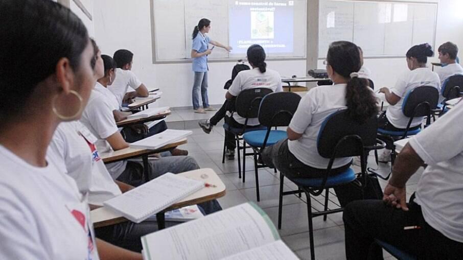 Sala de aula no pré-pandemia