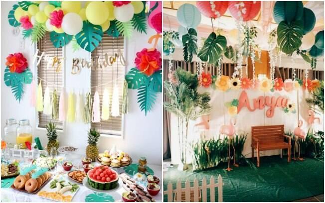 O segredo para a decoração da festa tropical é apostar em acessórios coloridos como bexigas, flores e folhagens