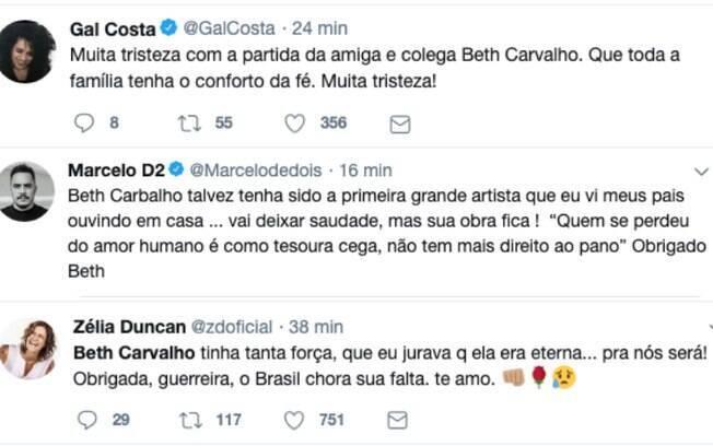Repercussão famosos Beth Carvalho