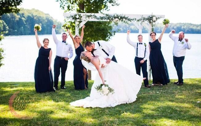 Nicole e Wesley Bodenheimer conseguiram planejar casamento em apenas dois dias para ganhar um grande desconto