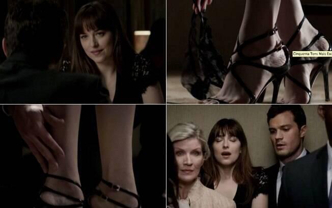 No trailer de 'Cinquenta Tons Mais Escuros', Christian Grey pede que Anastasia retire a calcinha e, depois, no elevador, a provoca com carícia