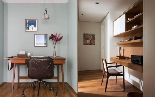 Seja com uma mesa solta ou com a bancada fixa, é possível aproveitar bem esses cantinhos que temos em casa.