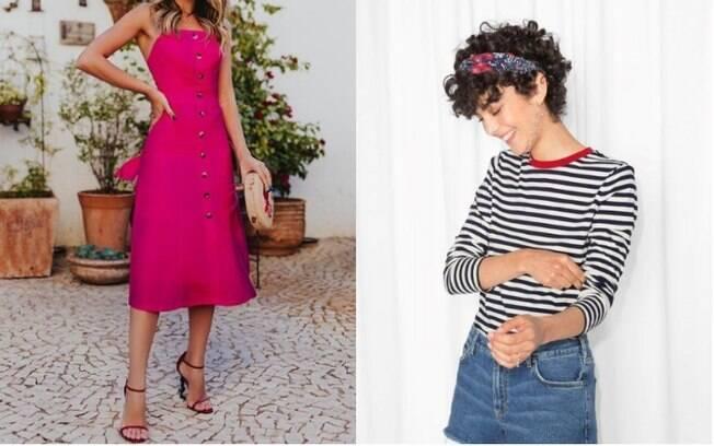 Na lista de roupas da moda está o vestido de botão (esq.), enquando a faixa de cabelo faz parte dos acessórios