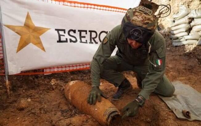 Bomba inglesa encontrada em Brindisi, no sul da Itália.