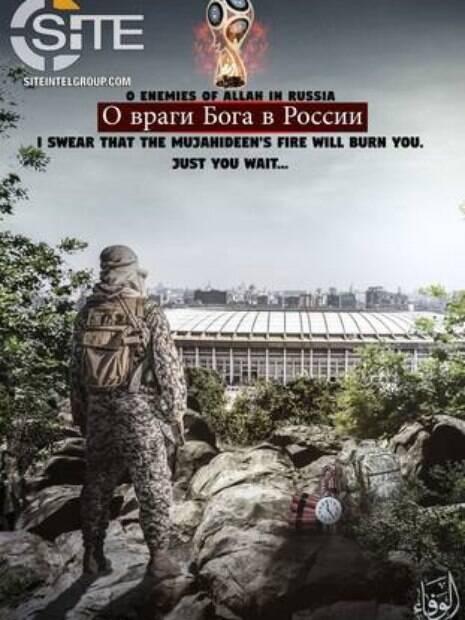Grupo pró-Estado Islâmico publicou cartaz com ameaça à Copa de 2018