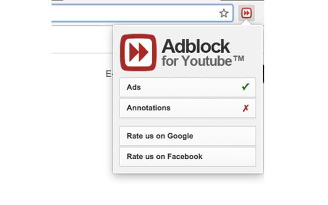 Você pode configurar as opções do Adblock clicando no ícone que se encontra no canto superior direito da tela.