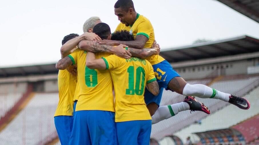 Seleção olímpica do Brasil vence a Sérvia por 3 a 0