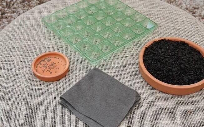 Manta bidim, terra vegetal e ementeira de plástico
