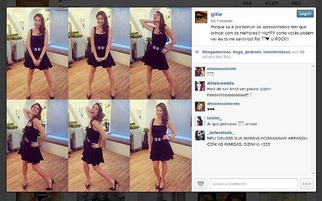 Giselle Itié posta imagens no palco do 'Hoje em Dia'