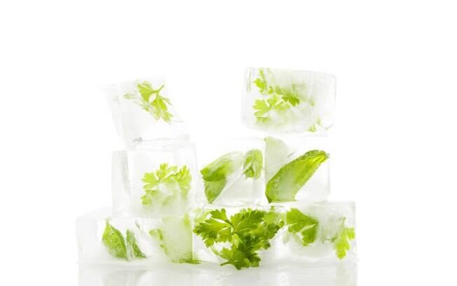 Cubos de gelo temperados também são uma forma de aproveitar melhor as ervas frescas